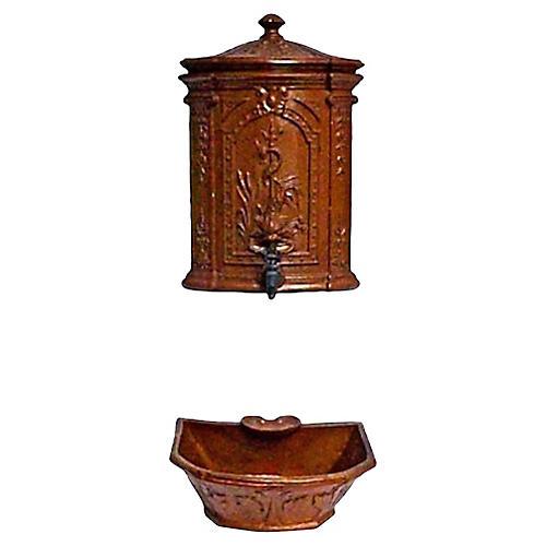 French Antique Faience Lavabo, 3-Pcs