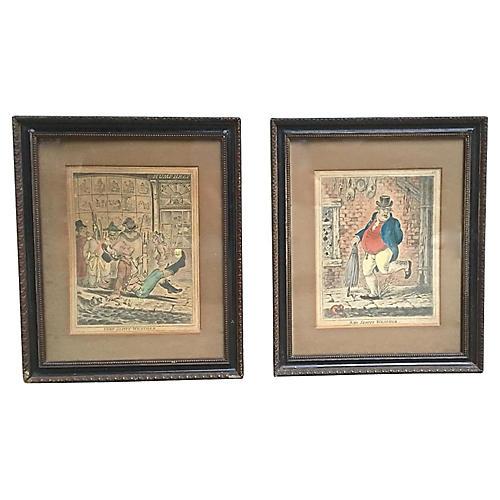 Antique Caricature Engravings, Pair