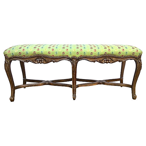 French Carved & Upholstered Bench