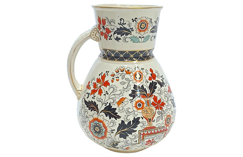 Large Antique Ironstone Floral Pitcher