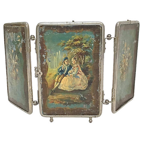 Antique Painted 3-Panel Vanity Mirror