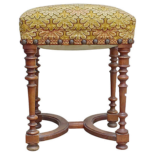 Antique Jacobean & Tapestry Footstool