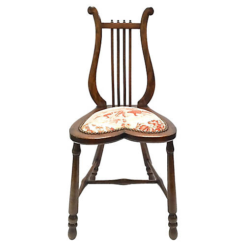 Antique Lyre-Back Slipper Chair