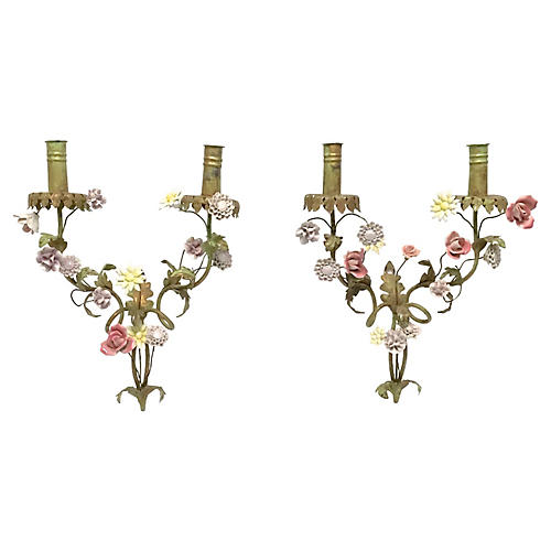 Tole & Porcelain Floral Sconces, Pair