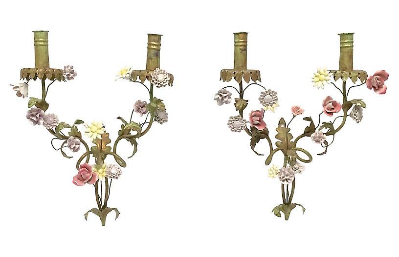 Tole & Porcelain Floral Sconces, Pair
