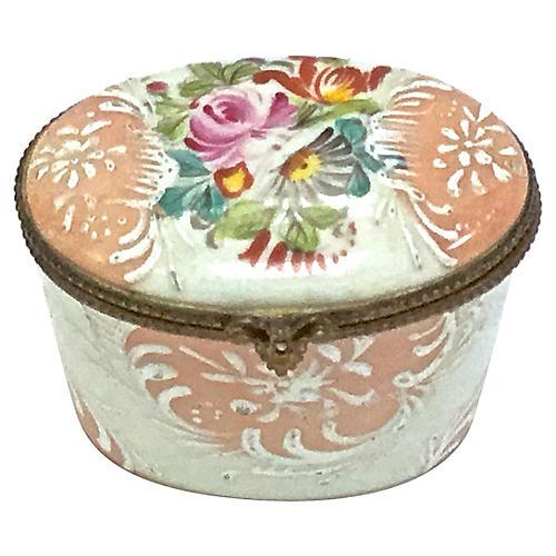 Oval Limoges Porcelain Floral Box