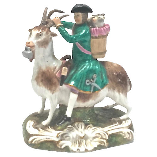 Ant. Derby Tailor Riding A Goat Figure