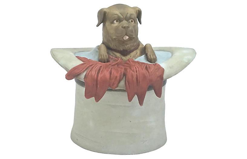 Antique Porcelain Pug in a Hat Jar