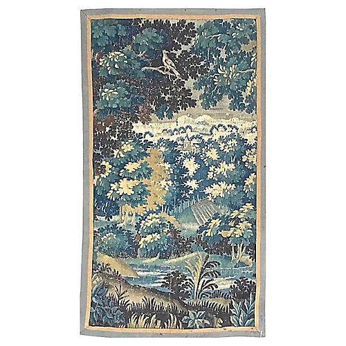 Antique Aubusson Verdure Scene Tapestry