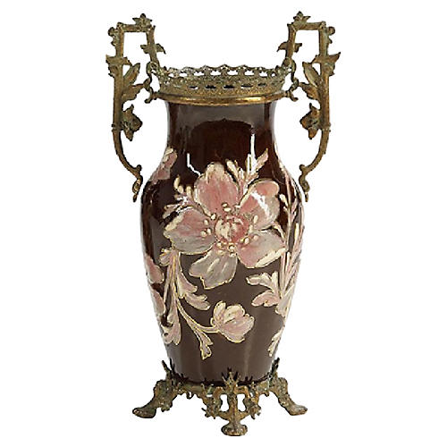 French Art Nouveau Floral Majolica Vase
