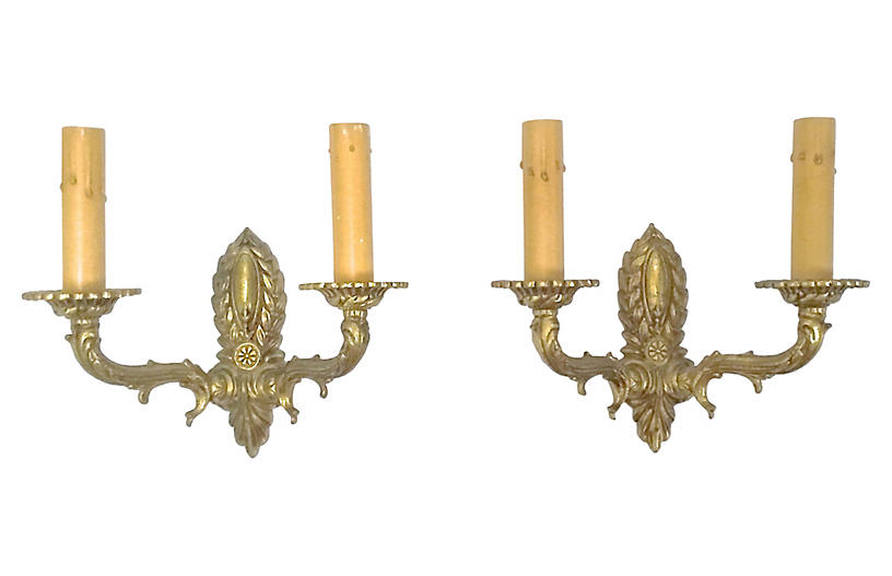 Antique Brass Acanthus Leaf Sconces, S/2