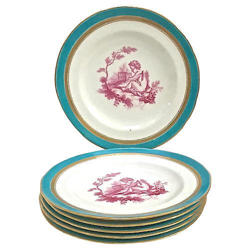 Minton Antique Porc. Cherub Plates, S/6