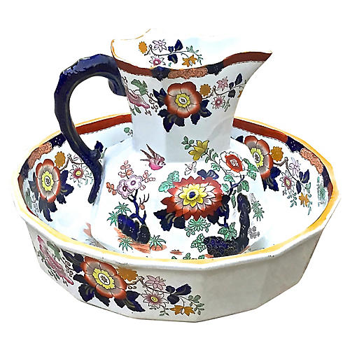 Ironstone Floral Basin & Pitcher
