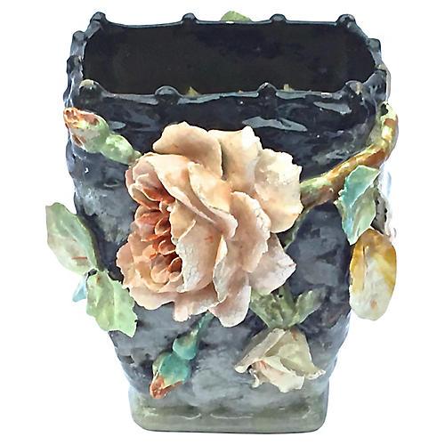 Barbotine Floral Basket Majolica Vase