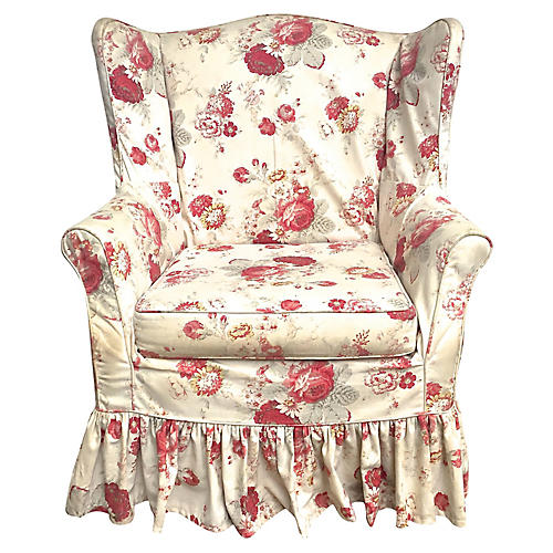 Custom Floral Slipcovered Wingback Chair