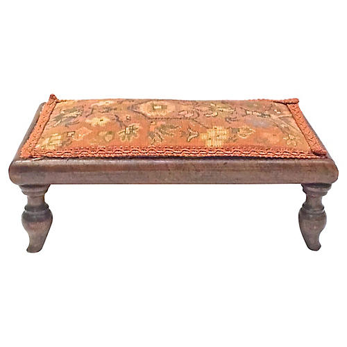 Antique Floral Needlepoint Footstool