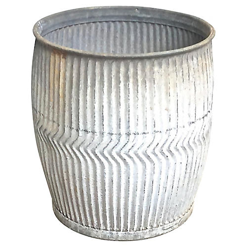 Patinated Steel Drum-Style Planter