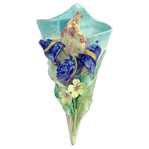 French Majolica Iris Wall Pocket