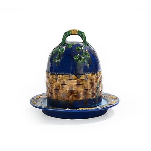 Majolica Covered Cheese Dish