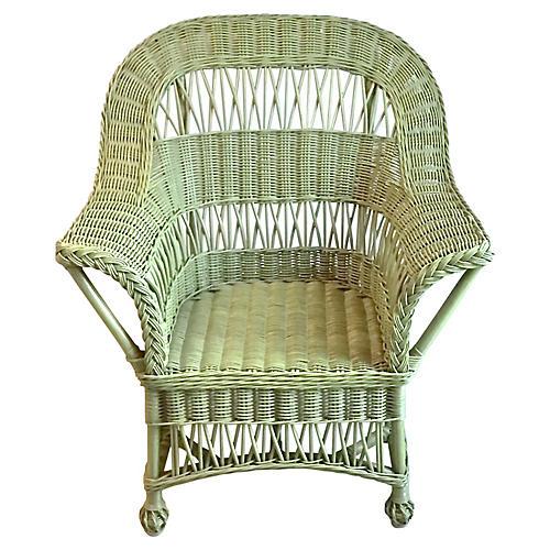 Cape Cod-Style Green Wicker Armchair