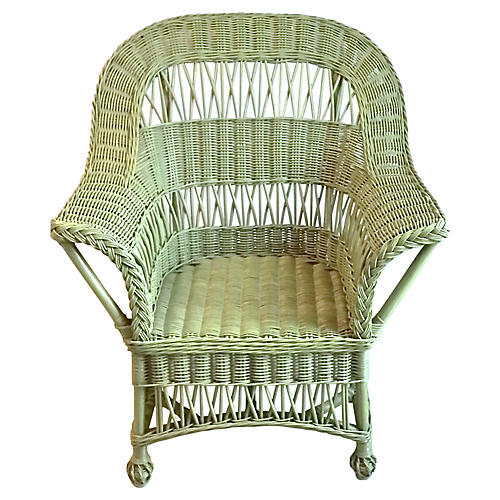 Cape Cod-Style Green Wicker Armchair