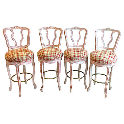 French Carved Barstools, S/4