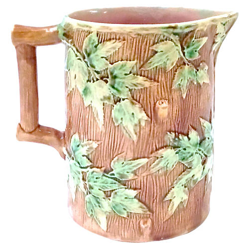 Antique Etruscan Majolica Leaf Pitcher