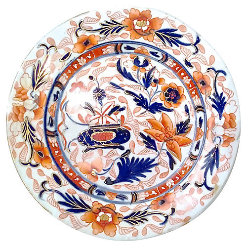 Antique Royal Derby-Style Floral Plate