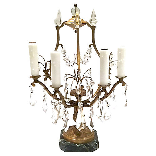 Antique Brass & Crystal Girandole Lamp