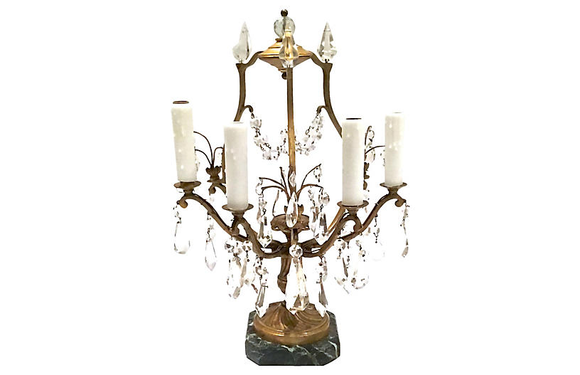 Antique Brass & Crystal Girandole Lamp