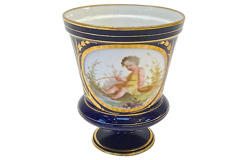 Antique Sevres Cherub Fishing Cachepot