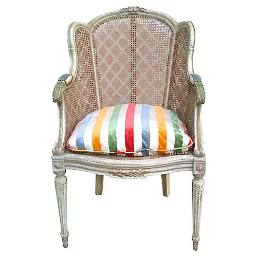 Antique Rattan Wingback Chair