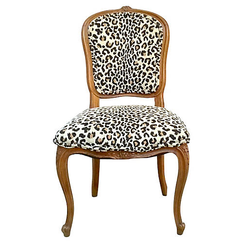 Antique Leopard Upholstered Side Chair