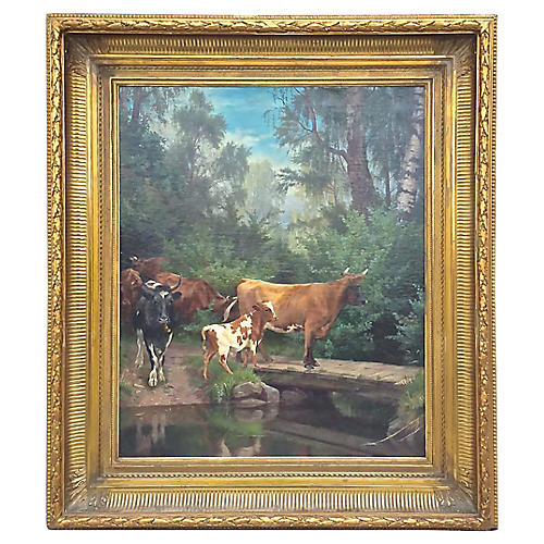 Cattle at the River Crossing Painting
