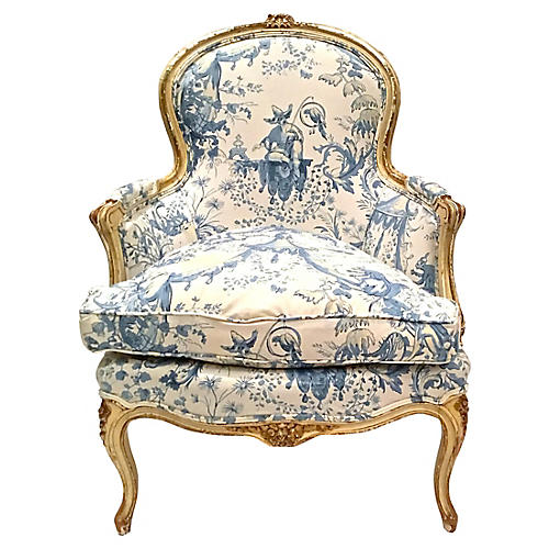 Antique Carved Toile Upholstered Bergere