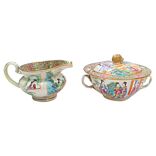 19th-C. Rose Canton Sugar & Creamer