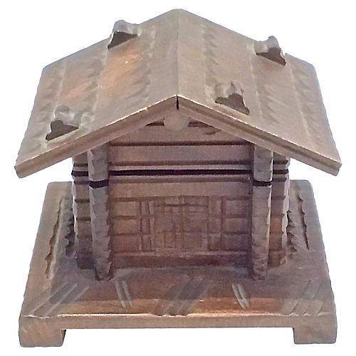 Antique Black Forest Log Cabin Inkwell