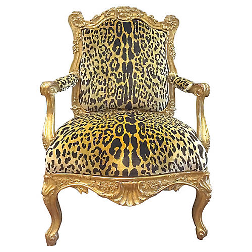 Rococo-Style Carved Giltwood Armchair