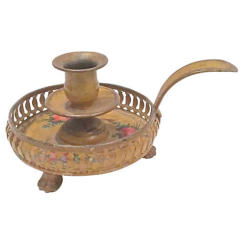 French Floral Tole Candleholder