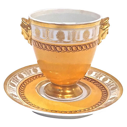 French Le Tallec Porcelain Cup & Saucer
