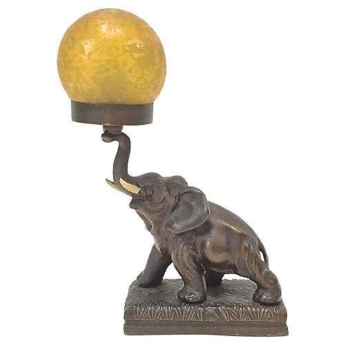 Bronze Elephant & Glass Globe Lamp