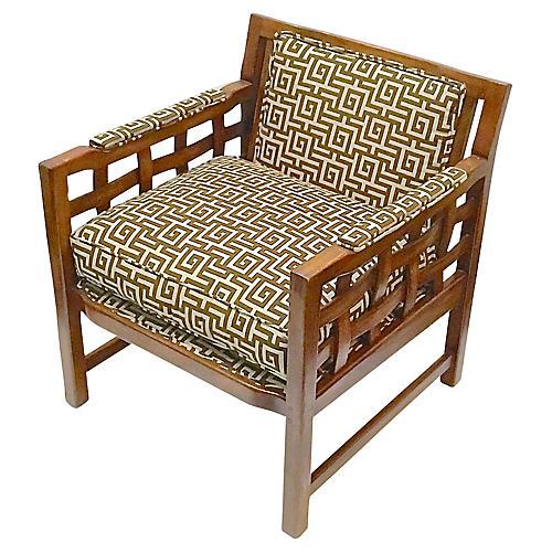 1960s Greek Key Club Chair