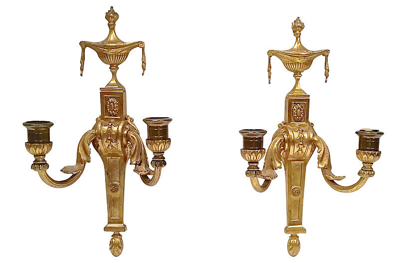 Gilt Empire Wall Candle Sconces, Pair