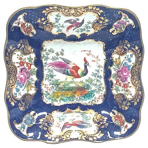 English Porcelain Bird & Floral Dish