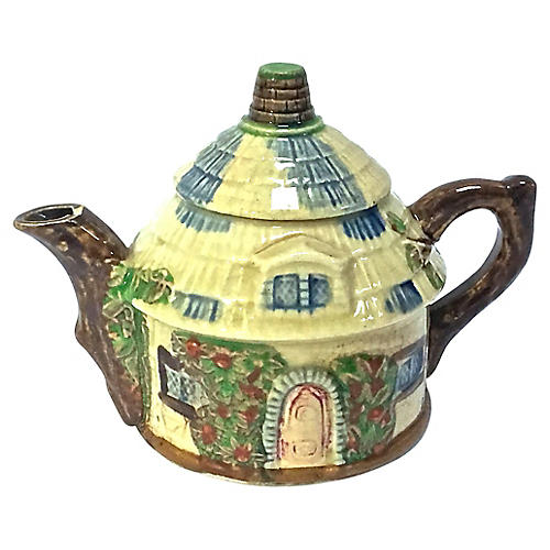 Ceramic Majolica Style Cottage Teapot