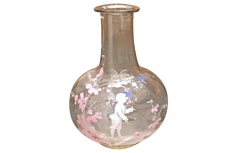 M. Gregory Enamel Painted Glass Vase