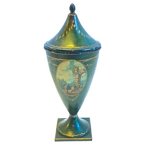 Tole Handpainted Chestnut Urn