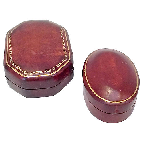 Florentine Leather Snuff Boxes, S/2