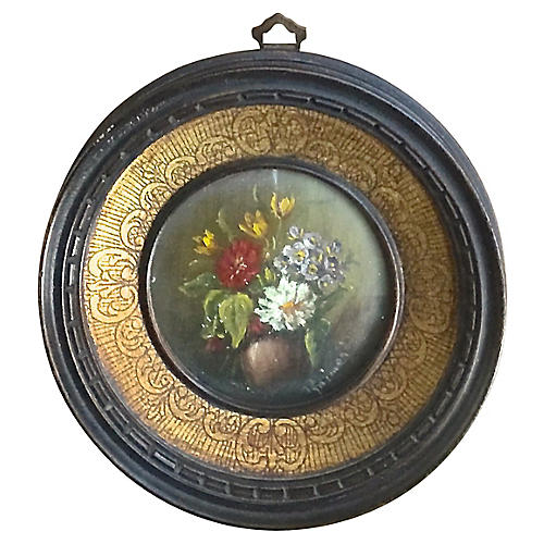 Round Miniature Antique Floral Painting