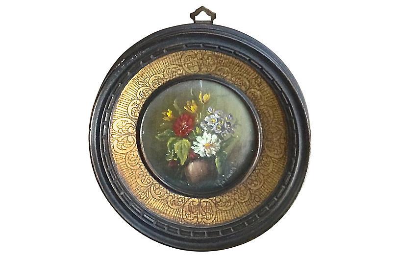 Round Miniature Antique Floral Painting Vermilion Designs